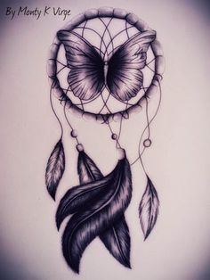purple butterfly dream catcher tattoo