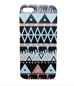 An awesome pink, black and white aztec pattern with elephants incorporated into it! A fun design printed on a hard plastic phone case perfect for protection and decoration! Make your case stick out wi