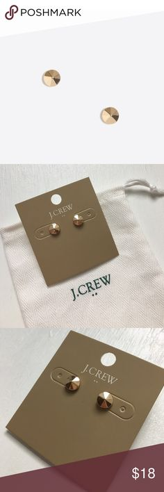 NWT! J.CREW Golden Faceted Stud Earrings NEW! NWT: J.CREW Faceted Golden Stud Earrings • Everyday casual cool style. • Light gold oz plating.•  Comes on earring backer with J.CREW branded cloth storage bag. ✨ J. Crew Jewelry Earrings