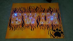 I painted a canvas with our team colors for the swim coach. I poked lights through it and the team is going to sign it at the end of the season! Swim Ribbons, Swim Team Gifts, Locker Signs, Cheer Banquet, Spirit Signs, Swim Mom, Locker Decorations, Banquet Ideas, Senior Gifts