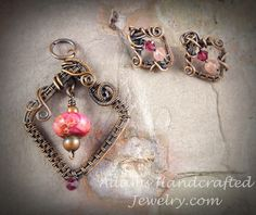 This+is+a+nice+lightweight+delicate+pendant+with+an+imperial+jasper+cranberry+red+bead+focal+point+wire-wrapped+in+copper+patina+finish.+The+earrings+are+small+and+delicate+to+match+the+pendant...they+are+also+copper+patina+wire-wrapped+with+swarvoski+and+czech+glass+crystals+that+match+the+color...
