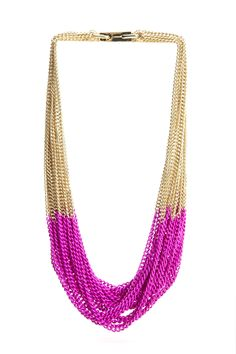Neon pink addicted - wonder if could make something like this? Lisa Ho, Beaded Necklace, Necklaces, Art Pieces, Bridesmaid Dresses, Neon, Jewels, Chain, My Style