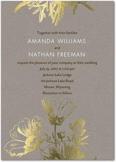 Delicate Imprint - Signature Foil Wedding Invitations in Cobblestone or Smoke | Petite Alma