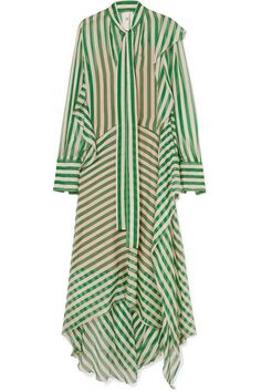 Petar Petrov - Dikon Pussy-bow Striped Silk-chiffon Maxi Dress - Green Green and white silk-chiffon Concealed button fastenings along front silk Dry clean Made in Italy Chiffon Maxi Dress, Silk Chiffon, Silk Dress, Ladies Dress Design, Look Fashion, Green Dress, Dress To Impress, Glamour, Clothes