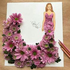 Flowers fashion illustration design 35 new Ideas Art Sketches, Art Drawings, Arte Fashion, Style Fashion, Dress Drawing, Fashion Design Drawings, Creative Artwork, Arte Floral, Flower Fashion