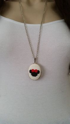 Cross stitch necklace, necklace, cross stitch jewelry, Valentine's Day gift…