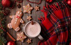 Фото обои Xmas, Новый Год, выпечка, Merry, gingerbread, печенье, глазурь, Рождество, Christmas, cookies, какао, decoration