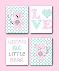 Pink Aqua Bear Nursery Art Nursery Quotes Kids Art Kids Wall Art Baby Girl…