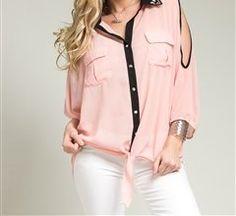 Plus Size Chiffon Peekaboo Sleeve Contrast Button Down Tie Blouse Top