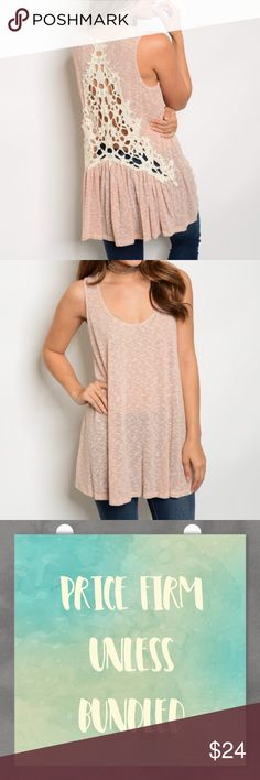 "Crochet Back Tunic Top Crochet Back Tunic Top in a light orange/pinkish color. Perfect for spring/ summer to pair with shorts, leggings, jeans or pants. 85% polyester 10% cotton 5% spandex. Measurements for small bust 36""/ length 30"".  Price firm unless bundled. No trades Tops"