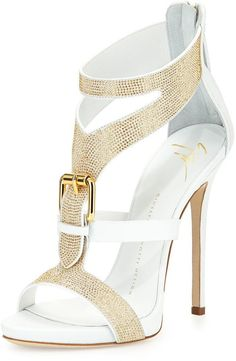 FashionShoes | Rosamaria G Frangini || Giuseppe Zanotti Strass Buckle Leather Sandal, Bianco***