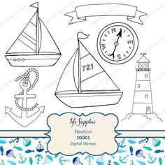 Nautical Digital Stamps clip art - printable boats, anchor illustrations