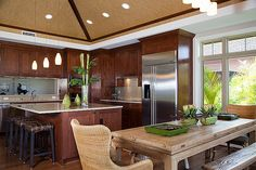 Love this kitchen - from the ceiling to the cabinetry.