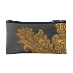 Elegant Faux  Leather  Oriental Floral design Makeup Bag - elegant gifts gift ideas custom presents