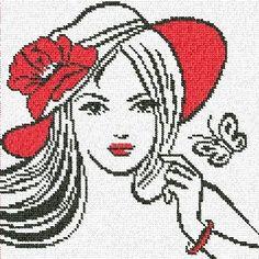 0 point de croix fille au chapeau rouge - cross stitch girl with red hat