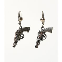 Silver Gun Rockware Dangle Lever Earrings ($22) ❤ liked on Polyvore featuring jewelry, earrings, silver, handcrafted jewelry, heart shaped pendant, heart shaped earrings, silver pendant and handcrafted silver earrings