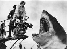 "Eek! Filming ""Jaws""...the 1975 thriller directed by a young Steven Spielberg. How long before you were comfortable swimming in the sea after watching this movie? Have you been back in yet? LOL!"