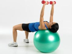 One-arm chest press on a fitness ball. Works your butt, thighs, core, arms, and shoulders!