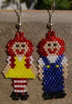Rag Doll Earrings Hand Made Seed Beaded | wolflady - Jewelry on ArtFire