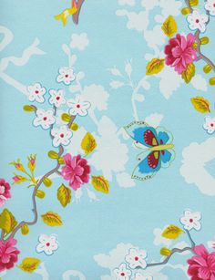 Chinoiserie - love, love, love a light blue nursery for a baby girl! Adding some girliness with the butterflies and roses - perfect! Wallpaper, decal, or crib bedding inspiration...