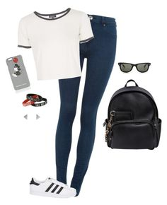 """Casual Day Out"" by hanakdudley ❤ liked on Polyvore featuring Dr. Denim, Topshop, adidas Originals, Dsquared2, Ray-Ban and Markus Lupfer"