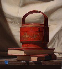 Tony Curanaj - Red Tea Basket With Books