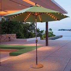 Galtech 9' Auto Tilt Umbrella with L.E.D. Lights // Create the perfect outdoor ambiance with the L.E.D. lite, Galtech 9' Auto Tilt patio umbrella.