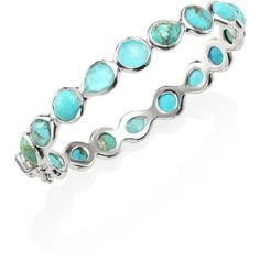 IPPOLITA 925 Rock Candy Wonderland All Around Turquoise Hinged Bangle ($1,695) ❤ liked on Polyvore featuring jewelry, bracelets, hinged bangles, turquoise jewelry, bracelets bangle, ippolita bangles and hammered bangle bracelet