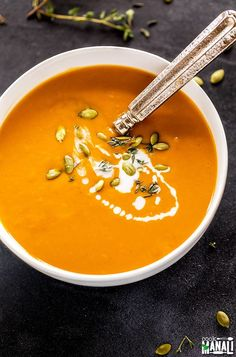 Vegan slow cooker sweet potato soup - lightly spiced, really comforting and super easy to make. The slow cooker does all the job! Slow Cooker Sweet Potatoes, Roasted Sweet Potatoes, Vegetarian Thanksgiving, Thanksgiving Recipes, Soup Recipes, Cooking Recipes, Vegan Recipes, Delicious Recipes, Oats Recipes