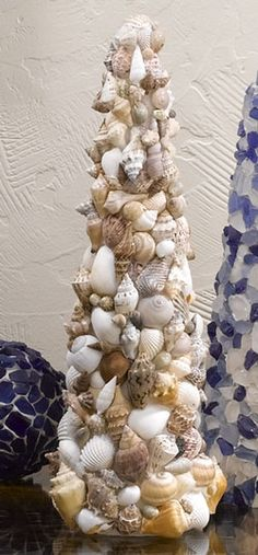 DIY Centerpiece:   Seashell Craft Tutorial: Make a Seashell Topiary & Seashell Deco Spheres