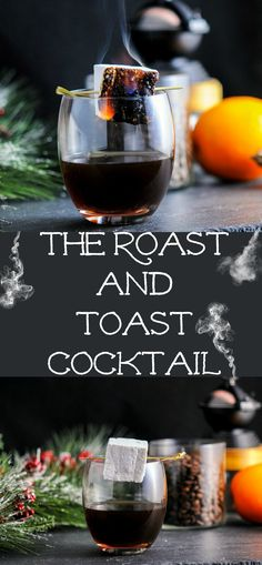 The Roast and Toast Cocktail - a combo of bourbon, coffee and amaro, along with our boozy marshmallows!  #cocktail #coffee #bourbon #marshmallows
