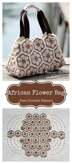 "diy_crafts- African Flower Motif Bag Free Crochet Pattern freecrochetpatterns bag flowers ""The African Flower Motif Bag Free Crochet Pattern i Crochet Shell Stitch, Crochet Motifs, Crochet Patterns, Knitting Patterns, Sewing Patterns, Crochet Designs, Free Knitting, Bobble Stitch, Crochet African Flowers"