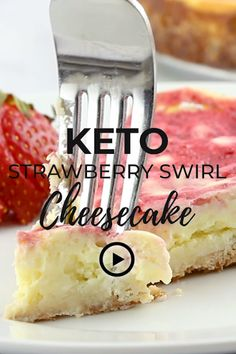 Keto Strawberry Swirl Cheesecake by I Breathe I'm Hungry. Pin made by Overhead Pro. Low carb cheesecake, gluten free strawberry cheesecake recipe, homemade atkins desserts, low carb desserts with cream cheese, healthy cheesecake recipe, easy cream cheese desserts, low carb cream cheese recipes, easy strawberry cheesecake, easy keto cheesecake, low carb cheesecake crust, tasty cheesecake, almond flour cheesecake crust, best keto strawberry cheesecake, atkins diet desserts.