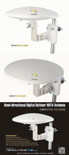 Antennas and Dishes: Lava Hd-8000 Omni-Directional 360° Digital Hdtv Amplified Tv Antenna Vhf Uhf Fm BUY IT NOW ONLY: $79.95