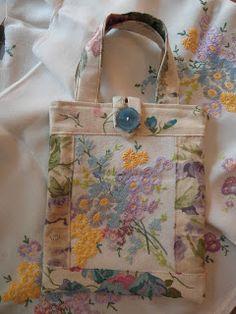 Handmade bag - vintage hand embroidery