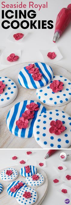 A simple, yet stunning cookie that's great for Memorial Day, 4th of July or any beachside holiday, these Seaside Royal Icing Cookies showcase bold red flowers that stand out against the white and blue backgrounds. Made using royal icing, these nautical-inspired cookies take a couple days to make, so be sure to plan ahead for your party. Best of all, since these cookies are decorated with royal icing, they stack and store easily, so no smudging once they're dry!