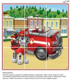 This puzzle is perfect for preschoolers and features Marshall the dalmatian from Paw Patrol with his fire truck!