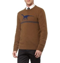 Jil SanderDinosaur Intarsia Camel and Wool-Blend Sweater|MR PORTER