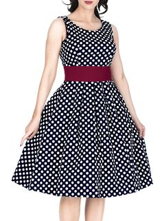 Miusol Women's Cut Out Vintage Polka Dot Optical Illusion Bridesmaid Swing Dress at Amazon Women's Clothing store: