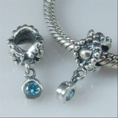 Daisy with Deep Blue Topaz Dangle Authentic Sterling Silver Solid Core Bead
