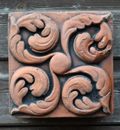 """Victorian Decorative brick """"Curled leaves"""" design copy of Century decorative terracotta square wall tile hand cast from originals Hand Cast, It Cast, Leather Working Patterns, Wall Plaques, Leaf Design, Architecture Details, Wall Tiles, Terracotta, Victorian"""