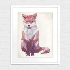 Fox géométrique Art Print    « « Imprimer détails « «    Imprimé sur du papier mat Premium Photo. Le cadre et le mat nest pas inclus, mais je ne