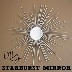 DIY dollar store starburst mirror made from wooden skewers!