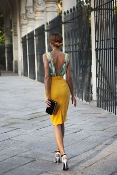 women #summer fashion beautiful style #yellow #dress black purse heels outfit