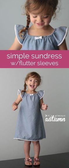 so cute! easy sewing tutorial for this adorable girl's sundress with flutter sleeves - step by step photo tutorial