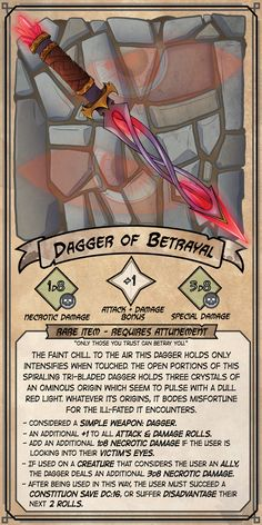 dagger of betrayal - random item / loot / weapon card for DnD Dnd Dragons, Dungeons And Dragons Homebrew, Dungeons And Dragons Characters, D&d Dungeons And Dragons, Dnd Characters, Dnd Stats, Dnd Stories, Dungeon Master's Guide, Dnd Funny