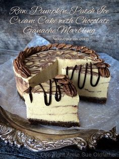 Raw Pumpkin Patch Ice Cream Cake with Chocolate Ganache Marbling | gluten free pumpkin desserts, recipes