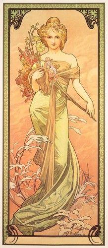 art,nouveau,1900s,lithograph,mucha,pink,women-056a6f03a4bd71d60487288f8d99c2c9_h.jpg (218×500)
