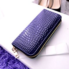 4 Colors Hot New Arrival High Quality Women Wallet Brand Women's Clutch  Bag Candy Color Crocodile Grain Long Desgin Purses
