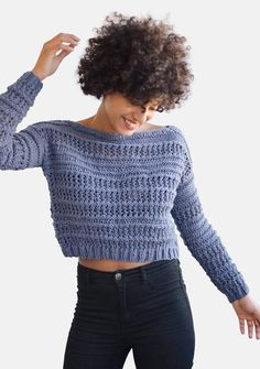 Hand Knit Sweater in Dark Denim Open Stitch Pullover Crop Pull Crochet, Knit Crochet, Light Denim, Dark Denim, Woolen Tops, Crop Top Sweater, Hand Knitted Sweaters, Knitting Accessories, Crochet Clothes